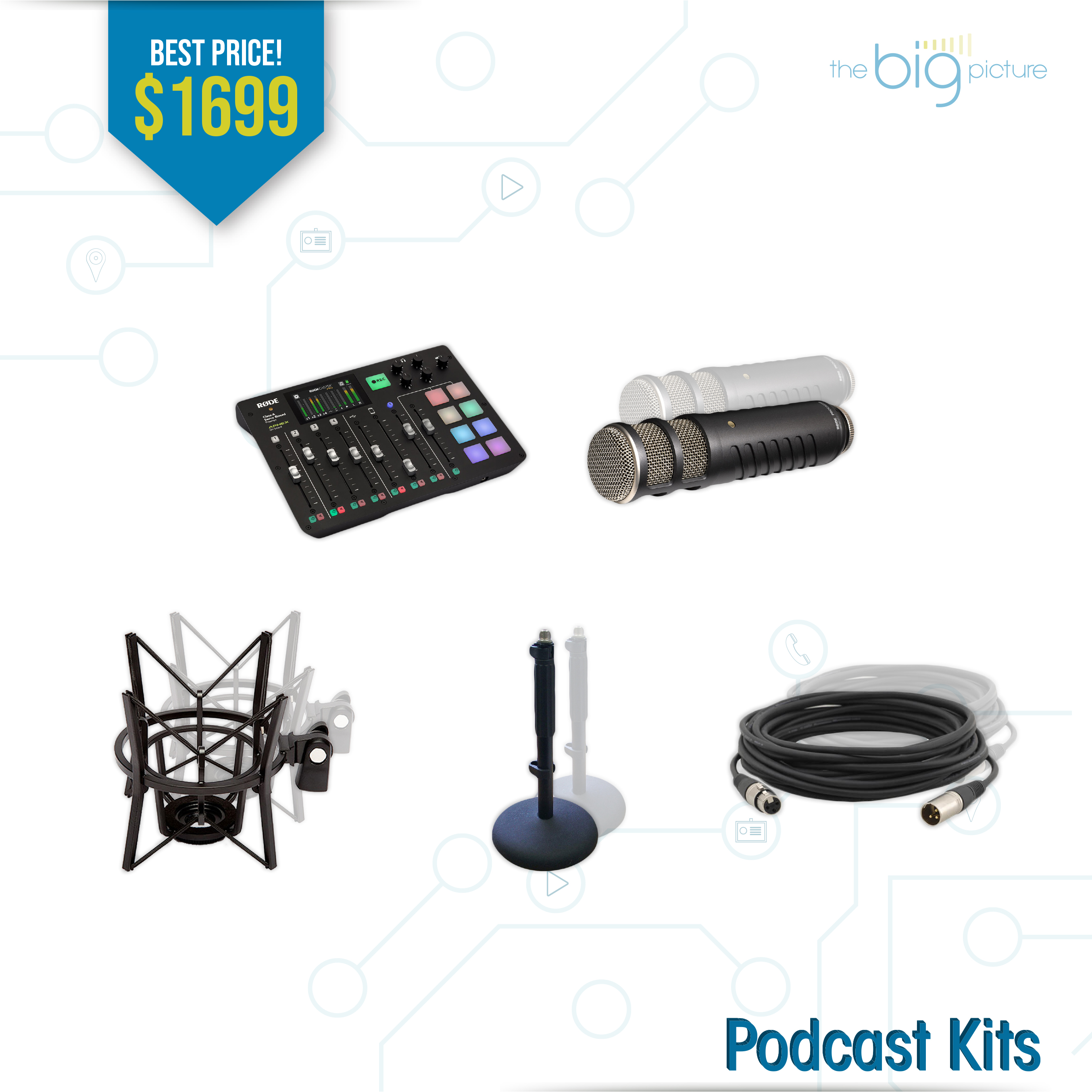 A set of products for Podcast Kits
